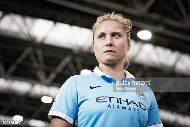 Manchester City footballer Steph Houghton is photographed for the Guardian on July 22 2015 in Manchester England