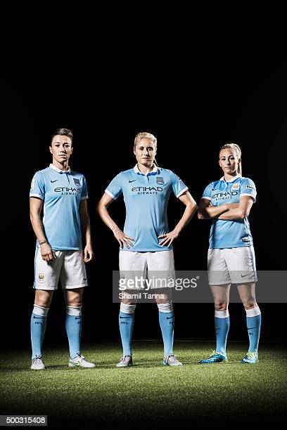 Manchester City footballers Steph Houghton Lucy Bronze and Toni Duggan are photographed for the Guardian on July 22 2015 in Manchester England