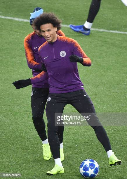 Manchester City German defender Leroy Sane take part in a training session of Manchester City at the Metallist stadium in Kharkiv on October 22 on...