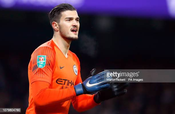 Manchester City goalkeeper Arijanet Muric during the Carabao Cup semi final match at the Etihad Stadium Manchester