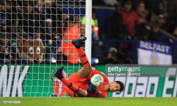 Manchester City goalkeeper Arijanet Muric saves a penalty from Leicester City's Caglar Soyuncu in the shootout Leicester City v Manchester City...