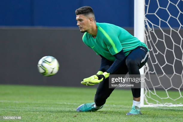 Manchester City goalkeeper Arijanet Muric warms up during Manchester Cityvïs practice session ahead of the International Champions Cup match between...