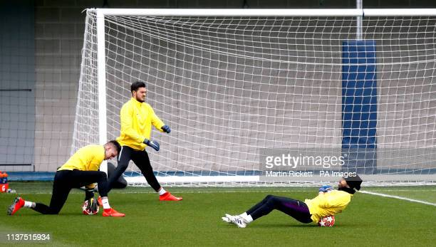 Manchester City goalkeeper Ederson Arijanet Muric and Claudio Bravo during the training session at the City Football Academy Manchester