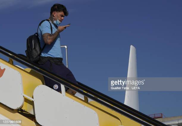 Manchester City goalkeeper Ederson arrives with Manchester City team in Lisbon for the Champions League at Humberto Delgado Airport on August 10 2020...