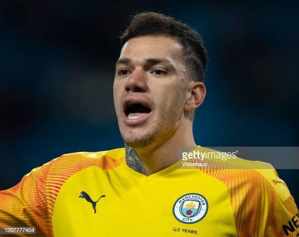 Manchester City goalkeeper Ederson during the Premier League match between Manchester City and West Ham United at Etihad Stadium on February 9 2020...