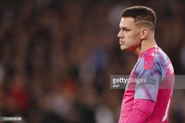 Manchester City goalkeeper Ederson during the UEFA Champions League round of 16 first leg match between Real Madrid and Manchester City FC at the...
