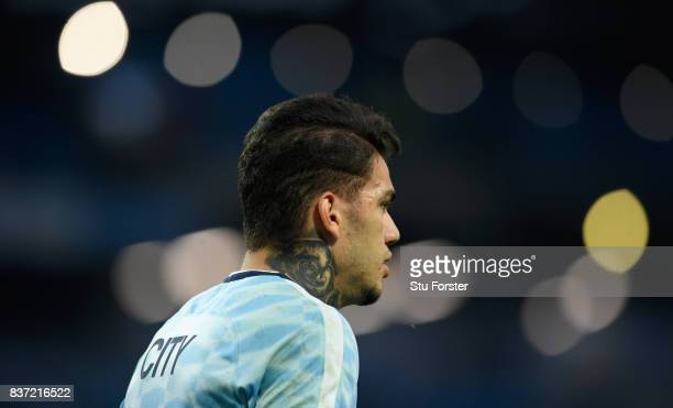 Manchester City goalkeeper Ederson Moraes looks on during the Premier League match between Manchester City and Everton at Etihad Stadium on August 21...