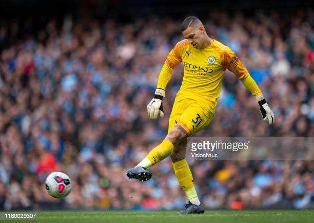 Manchester City goalkeeper Ederson passes the ball out during the Premier League match between Manchester City and Wolverhampton Wanderers at Etihad...