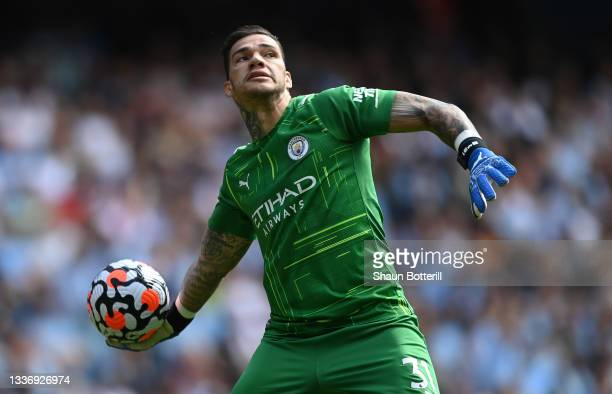 Manchester City goalkeeper Ederson throws the ball out during the Premier League match between Manchester City and Arsenal at Etihad Stadium on...