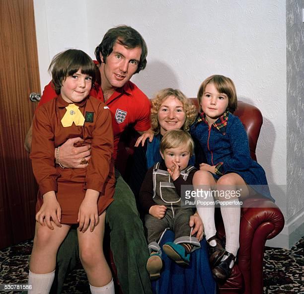Manchester City goalkeeper Joe Corrigan at home with his family circa 1980