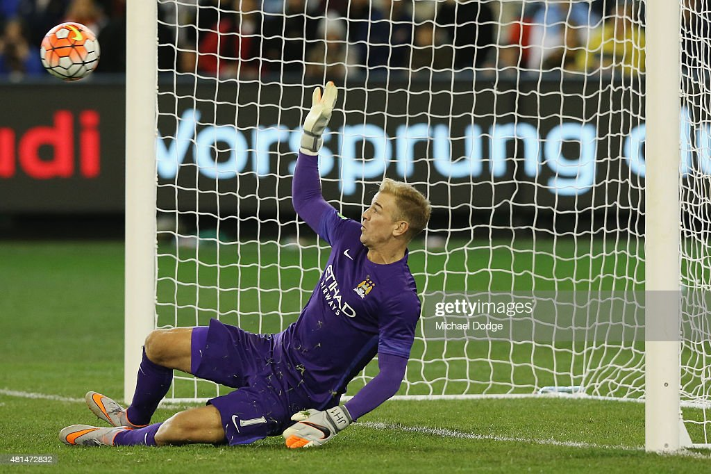 Manchester City Goalkeeper Joe Hart makes a match winning save in the penalty shoot during the International Champions Cup match between Manchester City and AS Roma at Melbourne Cricket Ground on July 21, 2015 in Melbourne, Australia.