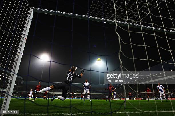 Manchester City goalkeeper Joe Hart makes a sace during the Barclays Premier League match between Queens Park Rangers and Manchester City at Loftus...