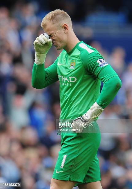 Manchester City goalkeeper Joe Hart reacts during the Barclays Premier League match between Manchester City and Everton at Etihad Stadium on October...