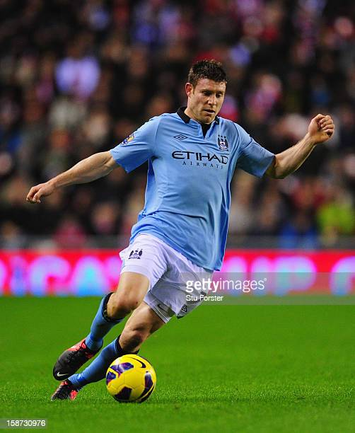 Manchester City goalkeeper winger James Milner in action during the Barclays Premier League match between Sunderland and Manchester City at Stadium...