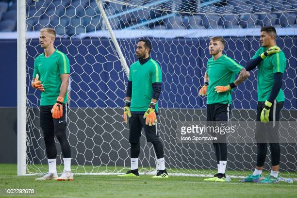 Manchester City goalkeeper's Joe Hart Claudio Bravo Daniel Grimshaw and Arijanet Muric warm up during Manchester Cityvïs practice session ahead of...