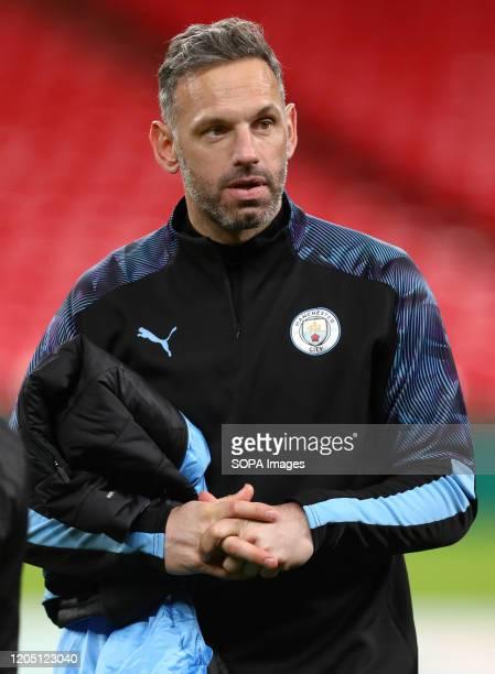 Manchester City Goalkeeping coach Richard Wright is seen after the Carabao Cup Final match between Aston Villa and Manchester City at Wembley Stadium