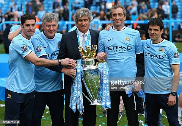 Manchester City Goalkeeping Coach Xabier Mancisidor Joint Assistant Manager Brian Kidd Manager Manuel Pellegrini Joint Assistant Manager Ruben...