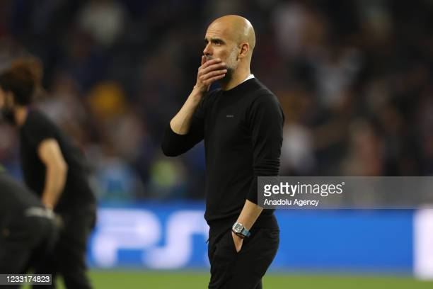 Manchester City head coach Pep Guardiola gestures at the end of the UEFA Champions League final match against Manchester City at Dragao Stadium on...