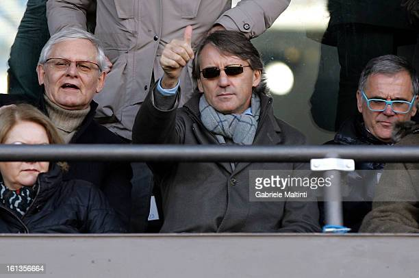 Manchester City head coach Roberto Mancini gestures while watching the Serie A match between UC Sampdoria and AS Roma at Stadio Luigi Ferraris on...