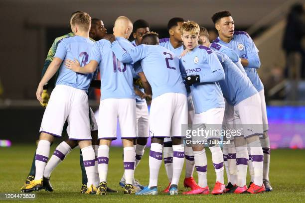 Manchester City huddle prior to the FA Youth Cup Fifth Round match between Manchester City and Fulham FC at The Academy Stadium on February 06 2020...