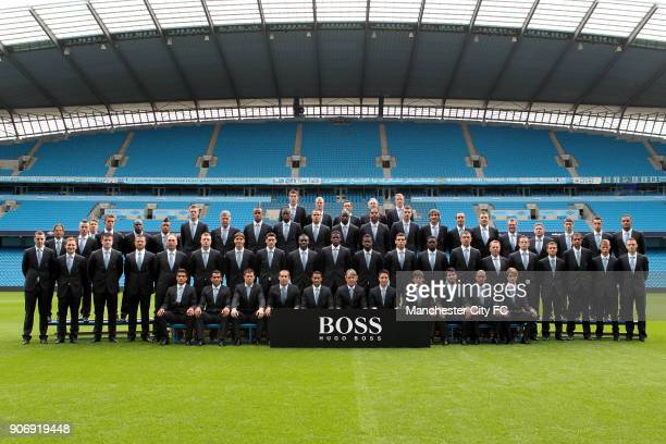 Manchester City Hugo Boss Partnership Team Photocall Etihad Stadium Costel Pantilimon Joe Hart Richard Wright Massimo Battara Eric Johansson 2nd back...