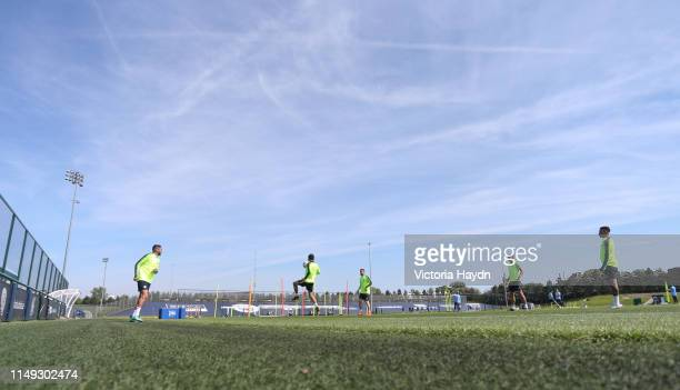 Manchester City in action during training at Manchester City Football Academy on May 15 2019 in Manchester England