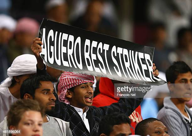 Manchester City is pictured during the friendly match between Hamburg SV and Manchester City at Hazza bin Zayed Stadium on January 21 2015 in Al Ain...