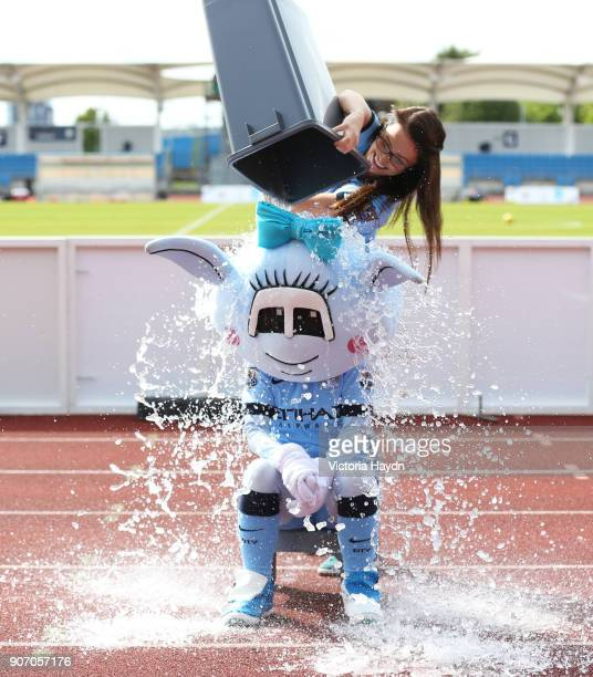 FA WSL Manchester City Ladies v Arsenal Ladies FC Manchester Regional Arena Manchester City's mascot Moonbeam does the ice bucket challenge and gets...
