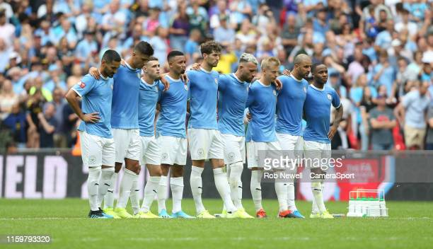 Manchester City line up for penalties during the The FA Community Shield match between Liverpool and Manchester City at Wembley Stadium on August 4,...