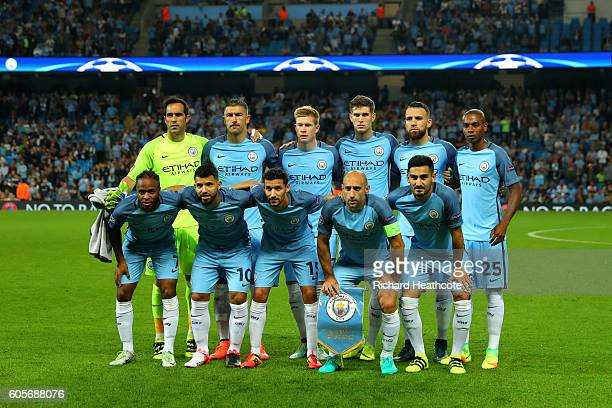 Manchester City line up prior to the UEFA Champions League match between Manchester City FC and VfL Borussia Moenchengladbach at Etihad Stadium on...