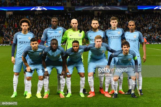 Manchester City line up the UEFA Champions League Round of 16 first leg match between Manchester City FC and AS Monaco at Etihad Stadium on February...