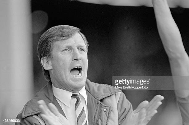 Manchester City manager Billy McNeill celebrates a goal during their 21 win over Tottenham Hotspur in the 1st Division match at Maine Road in...