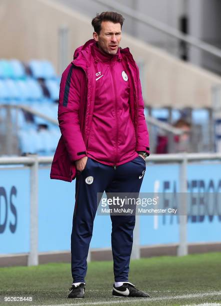 Manchester City manager Gareth Taylor looks on during the U18 Premier League match between Manchester City FC and Liverpool FC on April 28 2018 in...