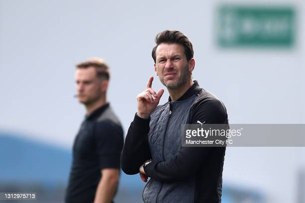 Manchester City manager Gareth Taylor looks on during the Vitality Women's FA Cup Fourth Round match between Manchester City Women and Aston Villa...