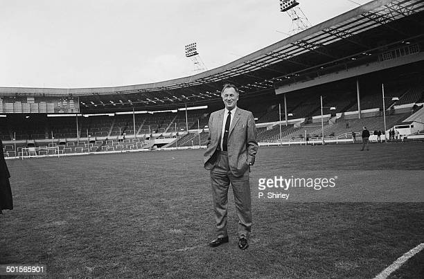 Manchester City manager Joe Mercer at Wembley Stadium to examine the pitch the day before the FA Cup final between his team and Leicester City 25th...