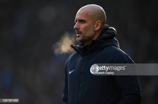 Manchester City manager Josep Guardiola during the Premier League match between Huddersfield Town and Manchester City at John Smith's Stadium on...