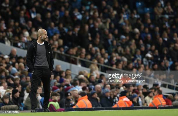 Manchester City manager Josep Guardiola during the Premier League match between Manchester City and Leicester City at Etihad Stadium on February 10...