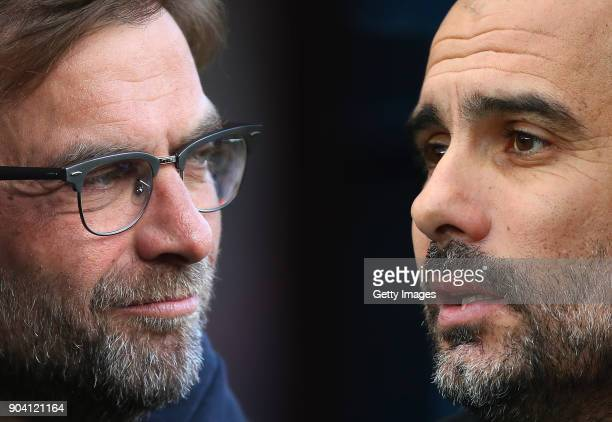 GRADIENT ADDED COMPOSITE OF TWO IMAGES Image numbers 531578890 and 899524772 In this composite image a comparison has been made between Jurgen Klopp...