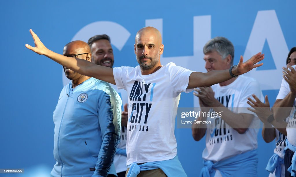 Manchester City Manager Josep Guardiola on stage during the Manchester City Trophy Parade in Manchester city centre on May 14, 2018 in Manchester, England.
