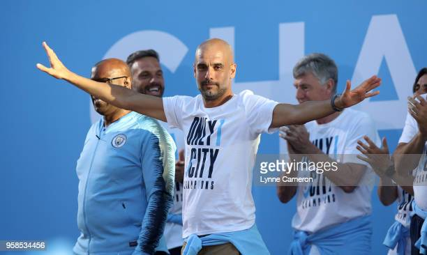 Manchester City Manager Josep Guardiola on stage during the Manchester City Trophy Parade in Manchester city centre on May 14 2018 in Manchester...