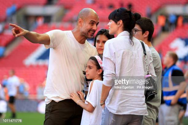 Manchester City manager Josep Guardiola with his family wife Cristina Serra and children Valentina Guardiola Maria Guardiola and Marius Guardiola...