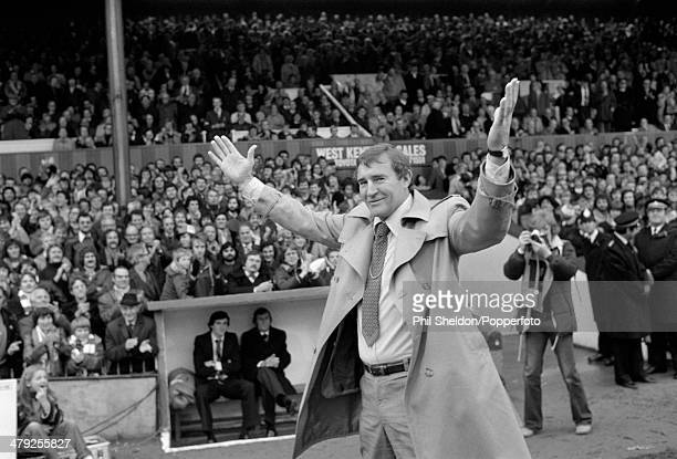 Manchester City manager Malcolm Allison waves to the crowd prior to the First Division match between Crystal Palace and Manchester City at Selhurst...