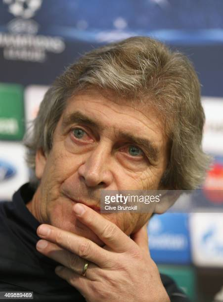Manchester City manager Manuel Pellegrini listens to questions from the media during a press conference after a training session ahead of their UEFA...