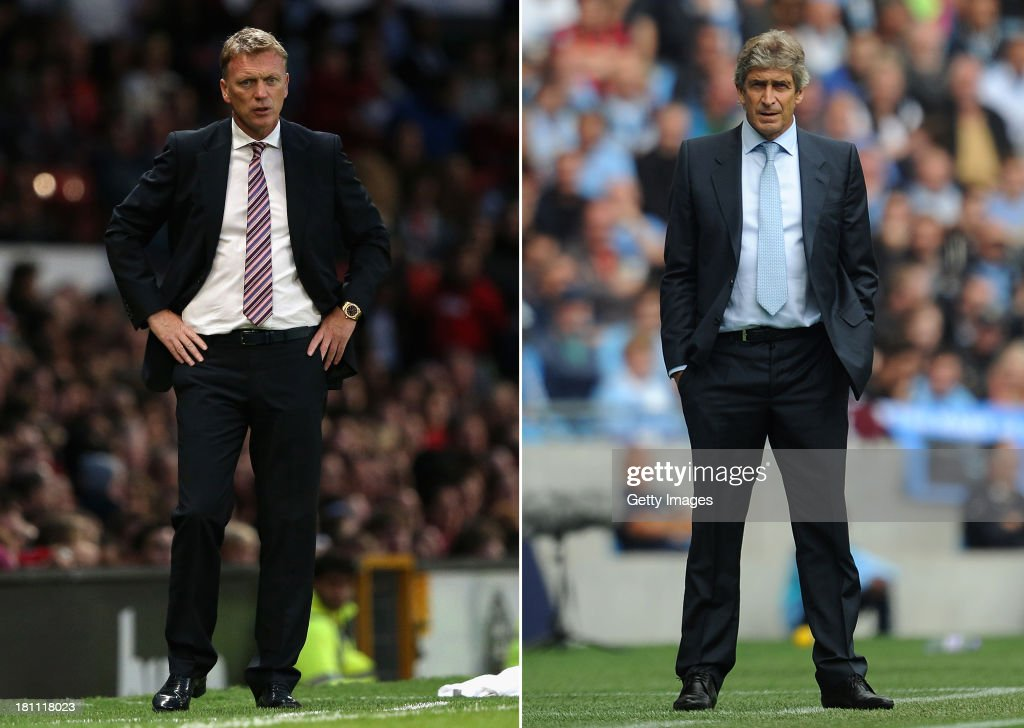 IMAGES - Image Numbers 175883635 (left) and 178918536) In this composite image a comparison has been made between David Moyes (L) , Manager of Manchester United and Manuel Pellegrini,Manager of Manchester City. Manchester City and Manchester United meet for the first Manchester Derby of the season on September 22, 2013 at the Etihad Stadium, Manchester. MANCHESTER, ENGLAND - AUGUST 31: Manchester City manager Manuel Pellegrini looks on during the Barclays Premier League match between Manchester City and Hull City at the Etihad Stadium on August 31, 2013 in Manchester, England.