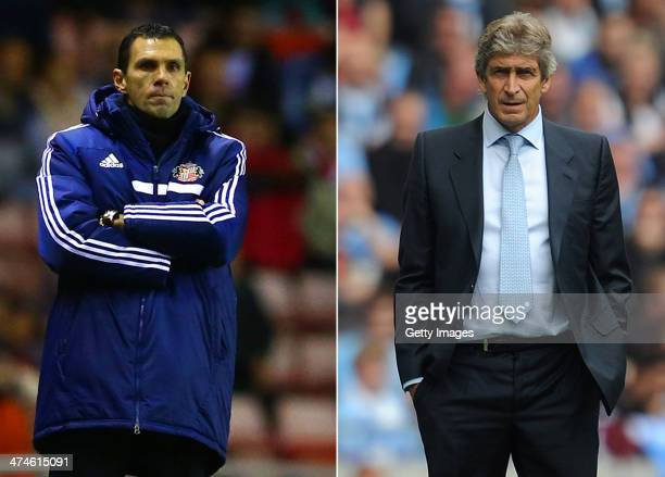IMAGES Image Numbers 453560903 and 178918536 In this composite image a comparison has been made between Sunderland manager Gus Poyet and Manuel...