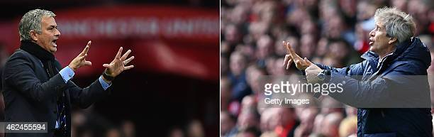 COMPOSITE OF TWO IMAGES Image numbers 457890290 and 484568573 In this composite image a comparision has been made between Jose Mourinho Manager of...