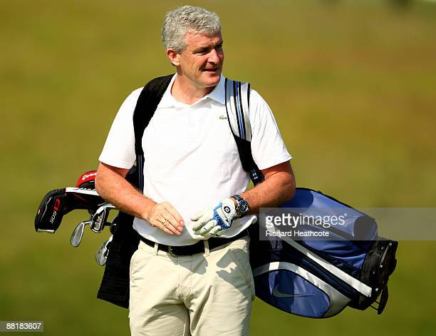 Manchester City Manager Mark Hughes in action during the proam for the Celtic Manor Wales Open on the 2010 Course at The Celtic Manor Resort on June...
