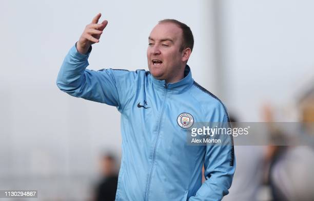 Manchester City manager Nick Cushing during the SSE Women's FA Cup match between Tottenham Hotspur Ladies and Manchester City Women at Cheshunt...