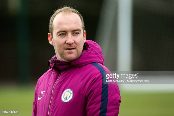 Manchester City manager Nick Cushing during the training session at Manchester City Football Academy on March 20 2018 in Manchester England