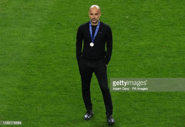 Manchester City manager Pep Guardiola after the final whistleduring the UEFA Champions League final match held at Estadio do Dragao in Porto,...